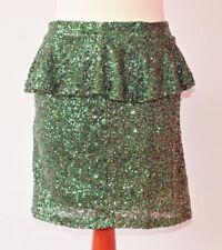 Minifalda Lentejuelas Verde Esmeralda Missguided Peplum Sparkle Festival Fiesta Tamaño 8