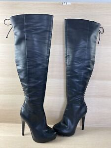 ALDO Black Leather Side Zip/Back Lace High Heeled Thigh High Boots Womens Size 7