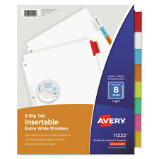 Avery 11222 8 Tab Big Tab Insertable Dividers Multicolor New