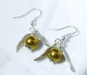 Golden 'Snitch' Earrings - Suit Harry Potter Fan - Great Gift - Silver Plated