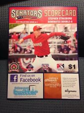 Stephen Strasburg Harrisburg Senators Program New Unused Scorecard
