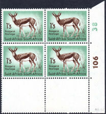 South Africa 1954 1s3d Springbok definitive cylinder block, SG.160, stamps UM