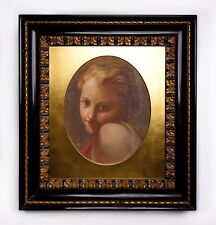 An Antique Framed Neoclassical Portrait Watercolor Painting Of A Youth
