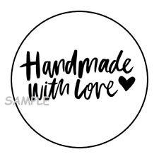 "30 HANDMADE WITH LOVE ENVELOPE SEALS LABEL STICKERS 1.5"" ROUND HEART BLACK WHITE"