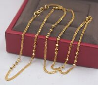 Real Pure 18K Yellow Gold Chain Women Wheat Beads Link Necklace / 2.8g /16.5inch