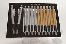 12 Ballpoint pens with rubber grip,6 Silver, 6 Gold, in a display case, Blue ink