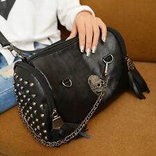 Women Retro Punk Skull Rivet Tassel Black Shoulder Bag Handbag Crossbody Satchel