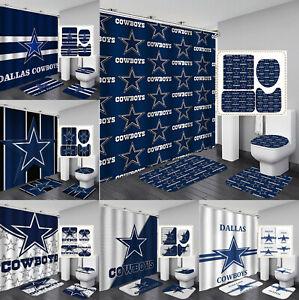 Dallas Cowboys 4PCS Bathroom Rugs Set Shower Curtain Non-Slip Toilet Lid Cover