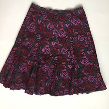 Mini Boden 12R Ladies Pink/Red rose Skirt Modest Length Twirly Floral