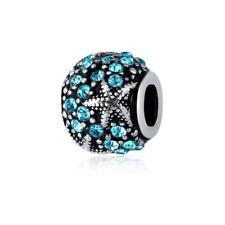 Bule 2p silver Ocean Star European Charm Beads Fit 925 Necklace Bracelet Chain