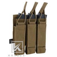 KRYDEX Triple Open Top SMG Mag Pouch Magazine Carrier Holder MOLLE Coyote Brown