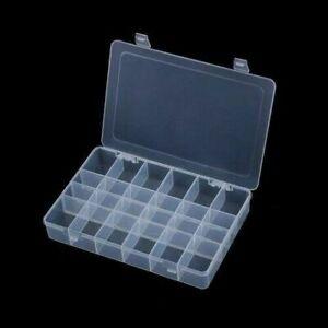 x2 24 Plastic Compartment Box Small Organiser Storage Box