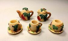 Ceramic Miniature Eight Piece Pottery Beige With Grapes And Watermelons