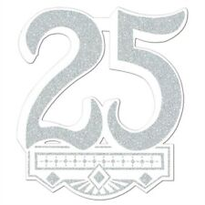 25th Anniversary Glittered Crest 14 Inch Anniversary Party Supplies Decorations