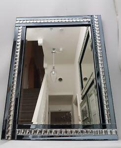 Wall Mirror Grey Blue Smoke Sparkly Silver Crystal Squares Border 60X80cm