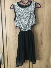 Primark Atmosphere Black Cut Out Waist Chiffon & White Lace Floaty Dress