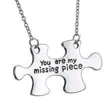 """Silver Tone Jigsaw Puzzle Pendant Chain Necklace Valentine's Day Gift 19"""" Chain"""