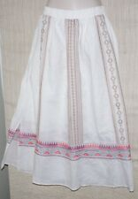 James Bryan Embroidered Maxi White Linen Elastic Waist Lined Skirt Size:M