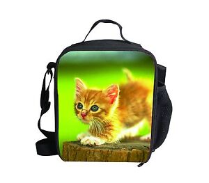 Womens Cute Yellow Cat Cooler Thermal Lunch Bag School Purse Picnic Girls Bento