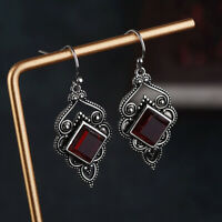 Women 925 Silver Red Ruby Stud Dangle Hoop Drop Earrings Boho Ear Jewelry Hot