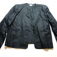 Talbots Sz 16 Black Open Front 100% Linen Blazer Jacket Shoulder Pads A2003