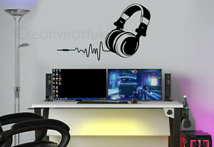 Headset Gaming Gamer Headphones DJ Music Headset Wall Stickers Decals Murals HD1
