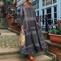WomenS Long Sleeve Floral Print Kaftan Shirt Dress Oversize Long Maxi Dress Plus