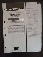 Original Service Manual Sansui Stereo Cassette Deck D-290