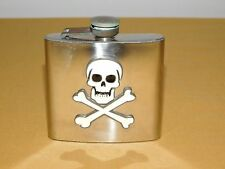 "3 7/8"" High Stainless Steel 5 Oz Skull & Cross Bones Liquor Flask"
