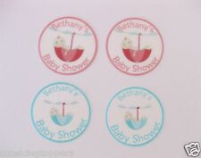 12 Pre-cut Edible Rice Wafer Paper Card Personalised Baby Shower Cupcake Toppers