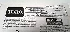 "1995 TORO GROUNDSMASTER 300 72"" Cutting Units Operators Manual"