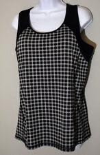 LANDS END Tank Top blouse shirt Womens ladies Size M 10-12 black gray gym yoga