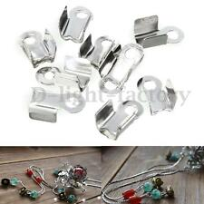 100x Folding Crimps Connector Ends Silver Plated Cords for Leather Jewellery