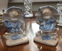 Vintage Pair Figurines. Children With Parasols. Blue & White