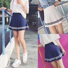 Women Girl Student Plain Skater Flared Mini Dress Tennis Pleated Party Skirt New