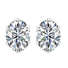 6X4mm 14K White Gold Rhodium Plated Basket Oval CZ Solitaire Earrings Studs