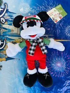 """2019 Disney Parks Mickey Mouse Main Street Tree Farm 11"""" Yuletide Plush Holiday"""