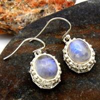NATURAL RAINBOW MOONSTONE 925 Sterling Silver Filigree Dangle Earrings