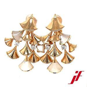 Ohrringe Bulgari Divas Dream 750/18K Gelbgold 4 Diamanten Brillanten Perlmutt