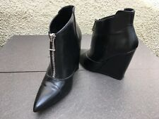 ZARA TRAFALUC LEATHER POINTED TOE HIGH WEDGE HEEL ZIP FRONTAGE ANKLE BOOTS 3UK
