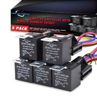 MICTUNING 5Pcs 12V 40Amp 5Pin Car Auto Relays Harness Socket SPDT 16AWG Hot Wire