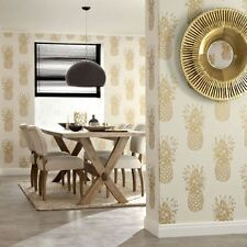 TROPICS COPACABANA PINEAPPLE WALLPAPER - GOLD CREAM - ARTHOUSE 690901 NEW