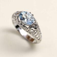 14K Solid Gold Ring Women's Vintage Style Aquamarine Unique Engagement