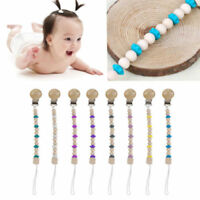 Baby Kids Wooden Beaded Pacifier Holder Clip Nipple Teether Dummy Strap Chain