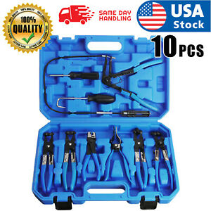 9pcs Wire Long Reach Flexible Hose Clamp Pliers Set Fuel Oil Water Hose Tools