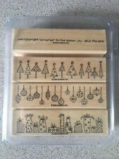 """New Stampin Up Rubber Stamp Mounted Set (4) """"Crazy for Christmas"""" Tree Ornament"""