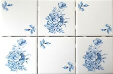 "Blue & White Delft Design Swansea and Rose Ceramic Tile 6 - 4.25"" Kiln Fired"