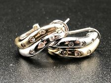 Women's 14K Yellow & White Gold Diamond Hoop Design Leverback Earrings