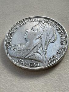 Queen Victoria Silver Crown Veiled Head 1893-1900