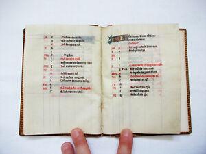 "1430 Amazing ""Book of Hours"": an Original Latin Manuscript Kalendarium on Vellum"